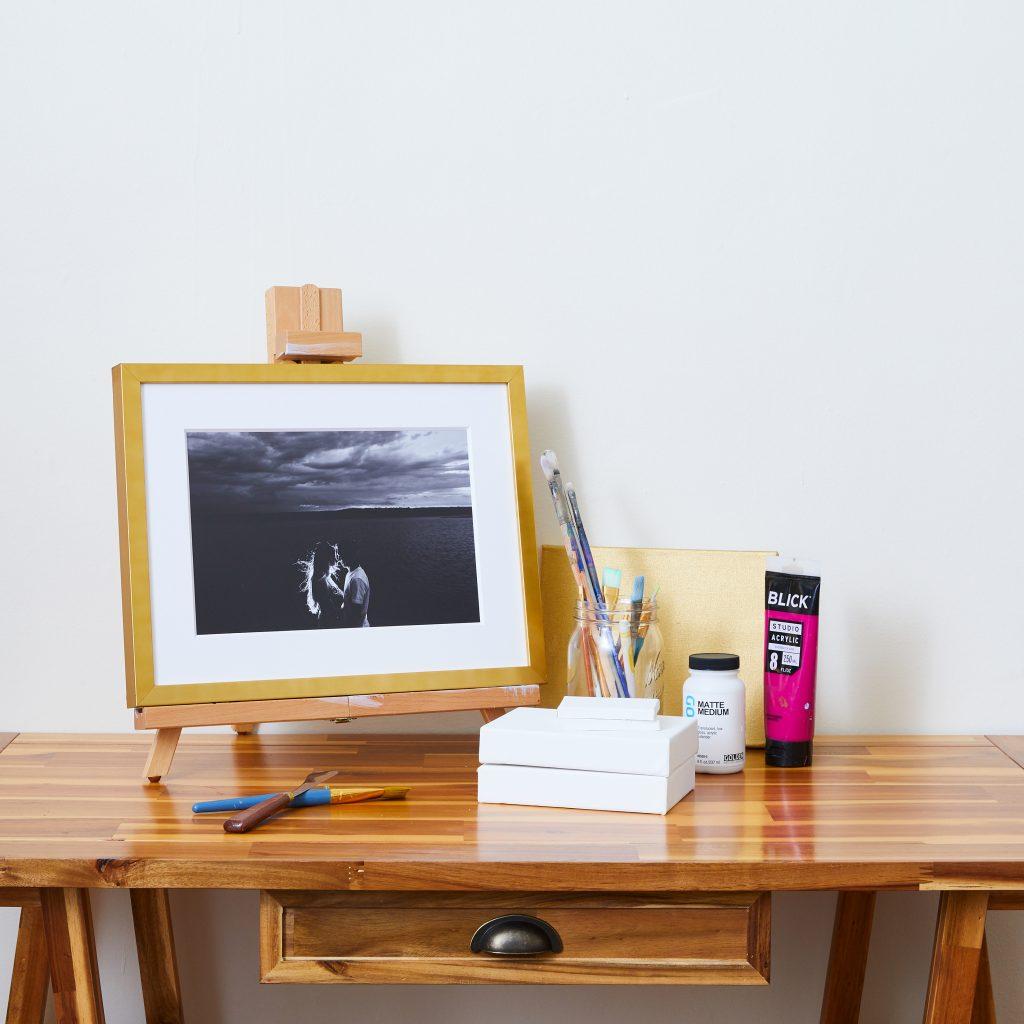 Framed Artwork resting on easel